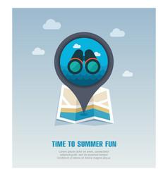 Binoculars pin map icon summer vector