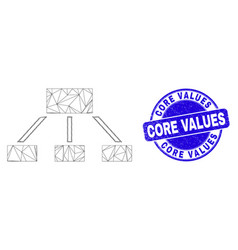 Blue distress core values stamp seal and web mesh vector