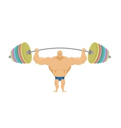 Bodybuilder raises sports barbell with colored vector