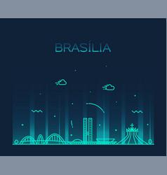 brasilia skyline brazil linear style city vector image