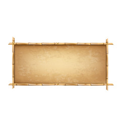 Brown bamboo sticks frame with old parchment vector