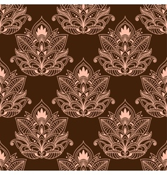 Brown persian paisley seamless floral pattern vector image