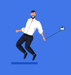 business man using selfie stick taking photo on vector image
