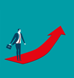 Businessman going up on the red arrow concept vector