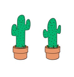 cactus cartoon character set in flat style vector image