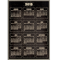 calendar template for 2015 in retro style vector image vector image