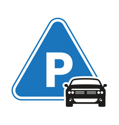 Car automobile parking sign icon with triangle vector