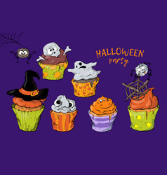 cartoon cupcakes with a ghost and a witch s hat in vector image