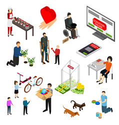 charity donation funding icon set 3d isometric vector image