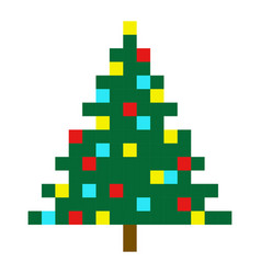 Christmas tree pixel art cartoon retro game style vector