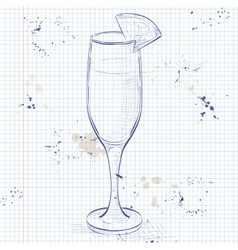 Cocktail alcohol Mimosa on a notebook page vector image