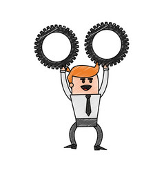 color pencil cartoon business man holding a gears vector image
