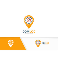 Compass and map pointer logo combination vector