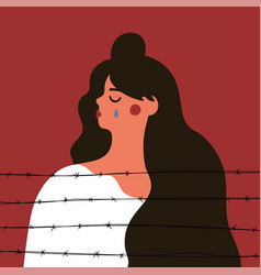 Crying long hair woman in white clothes behind vector