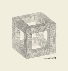 Cube connection structure 3d grid design vector