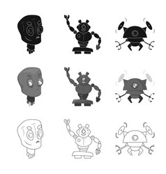 design of robot and factory logo vector image