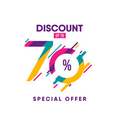 Discount label up to 70 special offer template vector