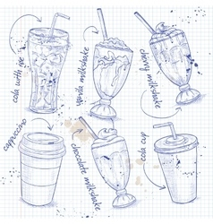 Drinks menu on a notebook page vector