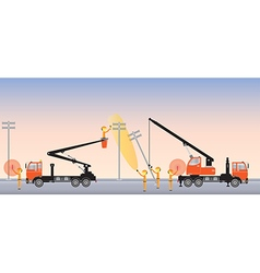 Electrician on road with Bucket Crane truck vector