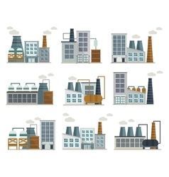 Factory Decorative Flat Icons Set vector image