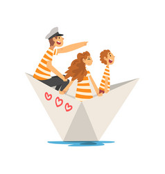 Father mother and son in orange white striped t vector