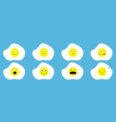 fried egg icon emoji set line funny kawaii vector image