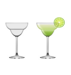 full and empty margarita cocktail glasses vector image