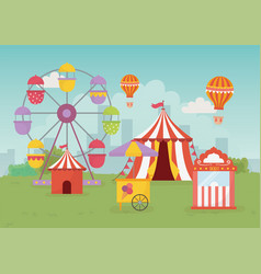 fun fair carnival tent air balloon booth tickets vector image