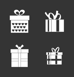 gift box icon set grey vector image