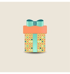 Gift box with bow and ribbon vector image