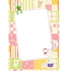 Girls childrens frame with rabbit and frog vector image