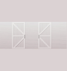 Gray wooden barn door front side background vector