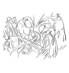group of veterinarian surgery in operation room vector image