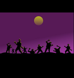 Group silhouette zombies on black mountain vector