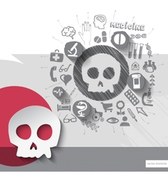 Hand drawn skull icons with icons background vector image