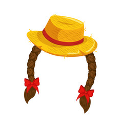 Hat with hair braids icon vector