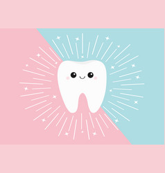 healthy tooth icon cute kawaii face with eyes vector image