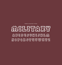 Hollow slab serif font in military style vector