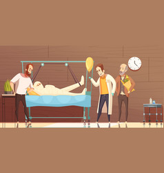 hospital patient visitors cartoon vector image