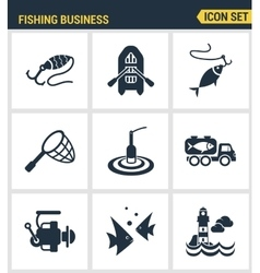 Icons set premium quality of fishing business vector image