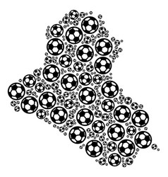 Iraq map collage of soccer spheres vector