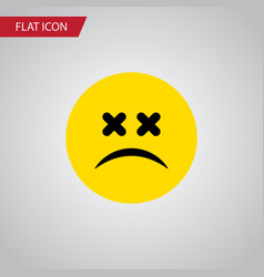 Isolated dizzy emoticon flat icon cross-eyed face vector