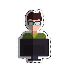 man faceless glasses computer vector image