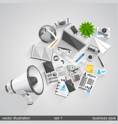 megaphone business style set 1 vector image