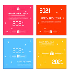 new year 2021 posters set line art design vector image