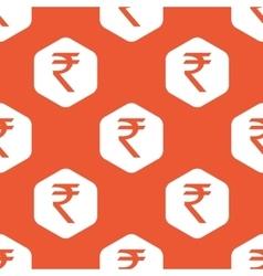 Orange hexagon rupee pattern vector