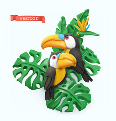pair toucans and tropical leaves summer time vector image