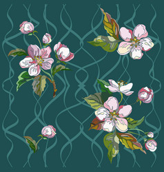 pattern apple flowers vector image