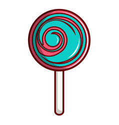 pink and blue lollipop icon cartoon style vector image