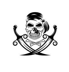 Pirate skull with swords and bones vector